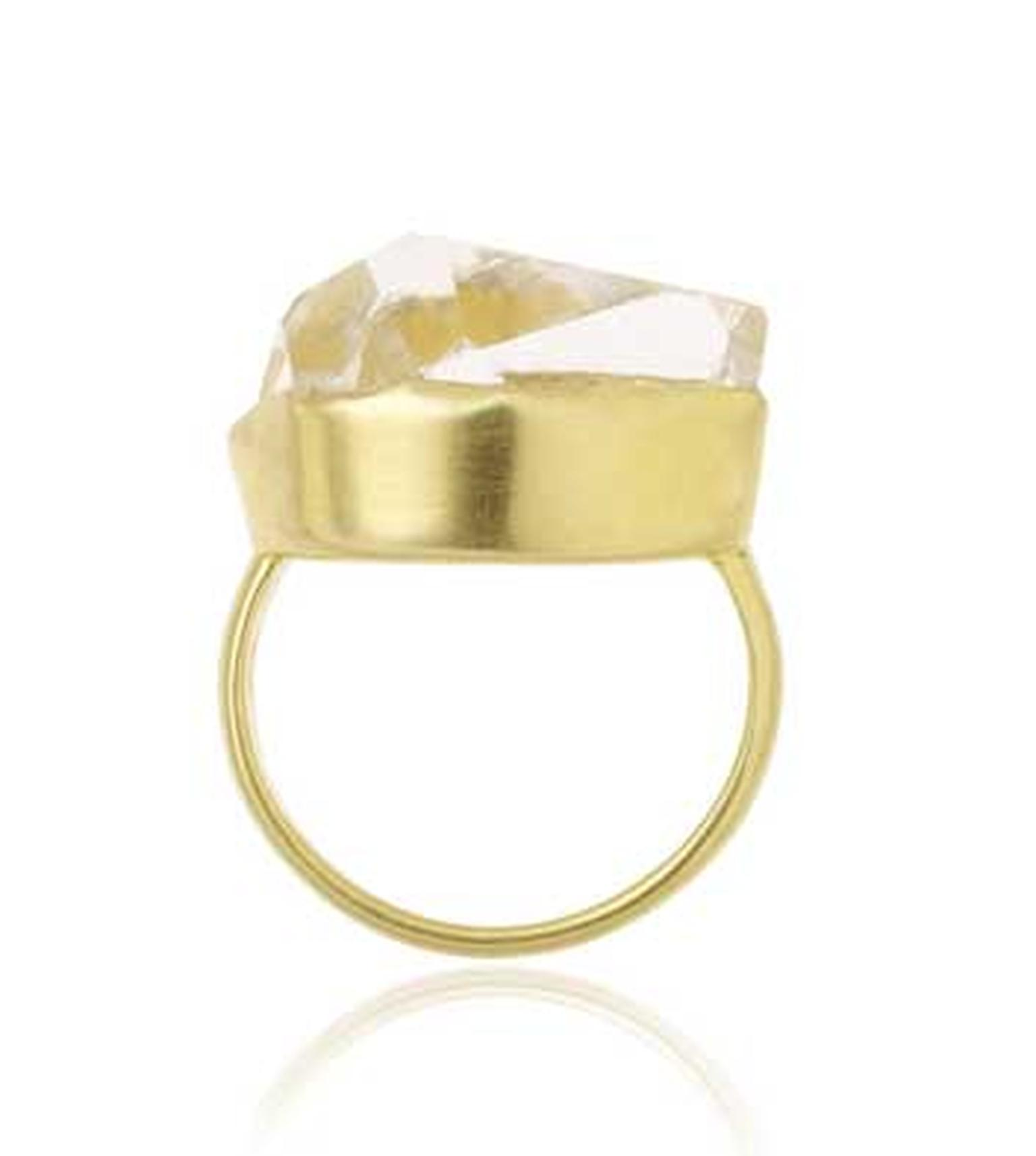 Pippa Small Herkimer diamond ring in yellow gold