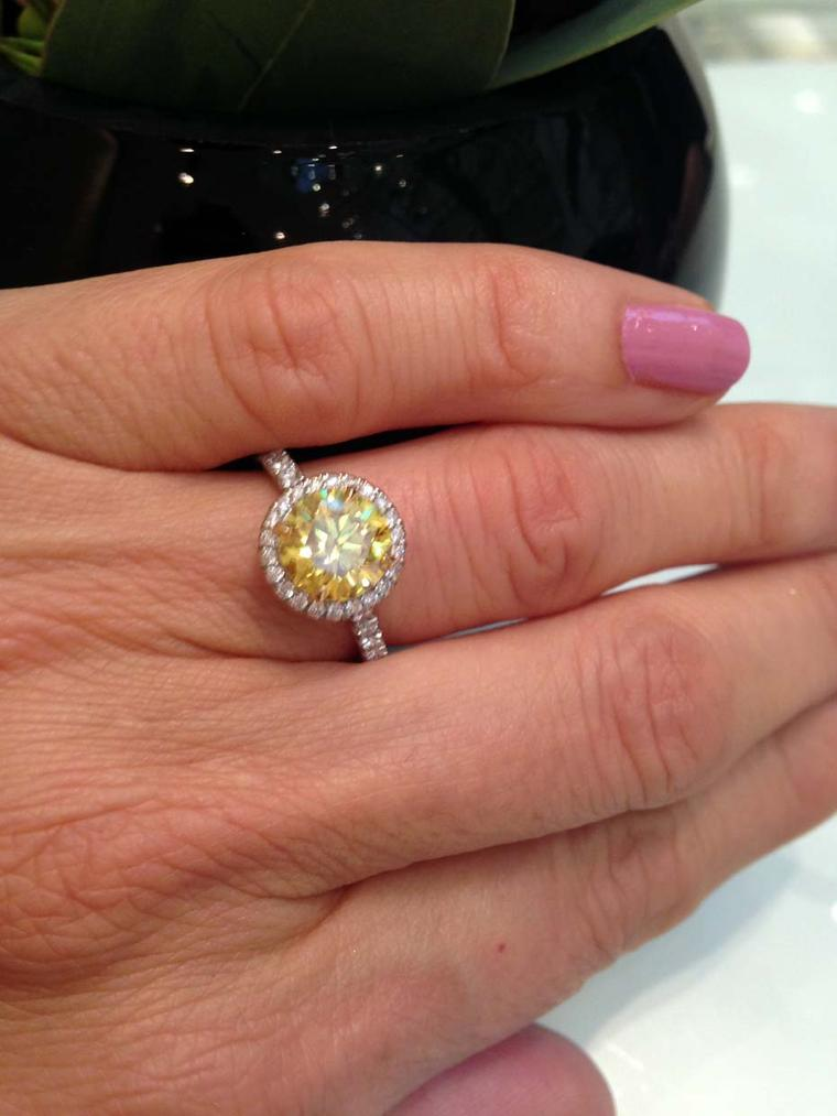 Boodles halo-style 2.00ct Vivid Yellow diamond engagement ring (£155,000).