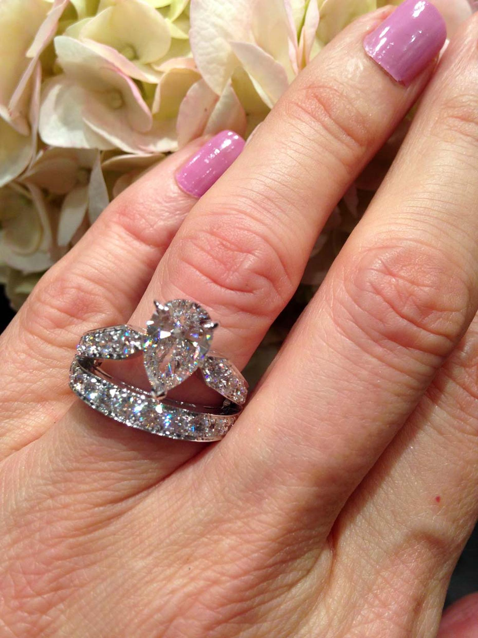 Chaumet Josephine diamond engagement ring with 2.00ct pear-cut diamond (£93,800).