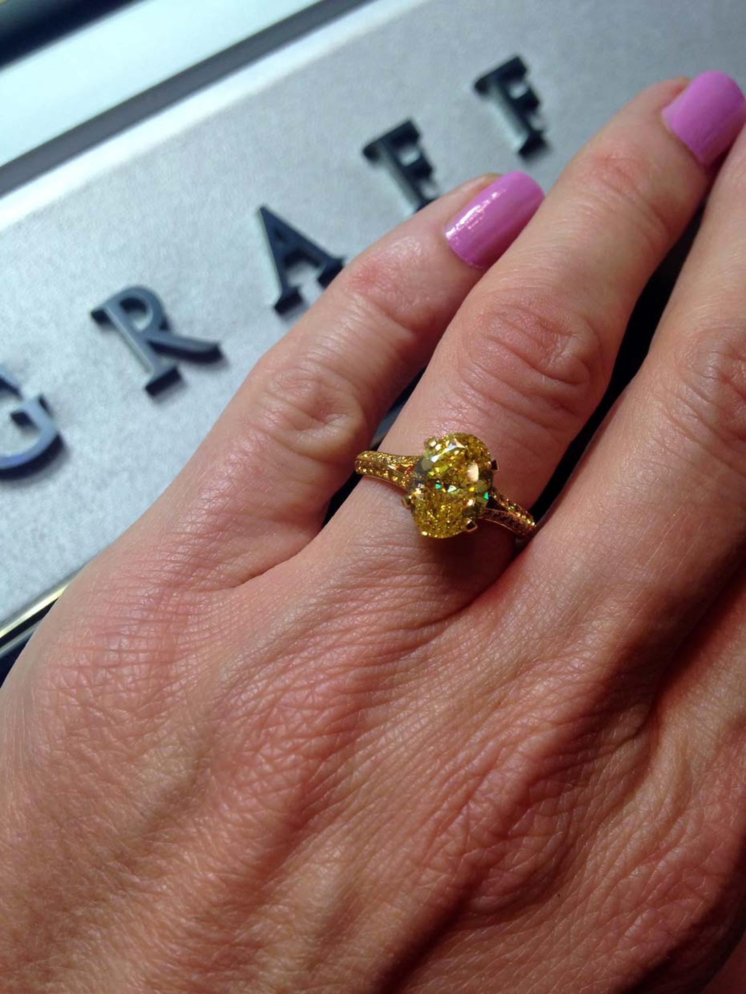 Graff Fancy Vivid 2.07ct yellow diamond engagement ring.