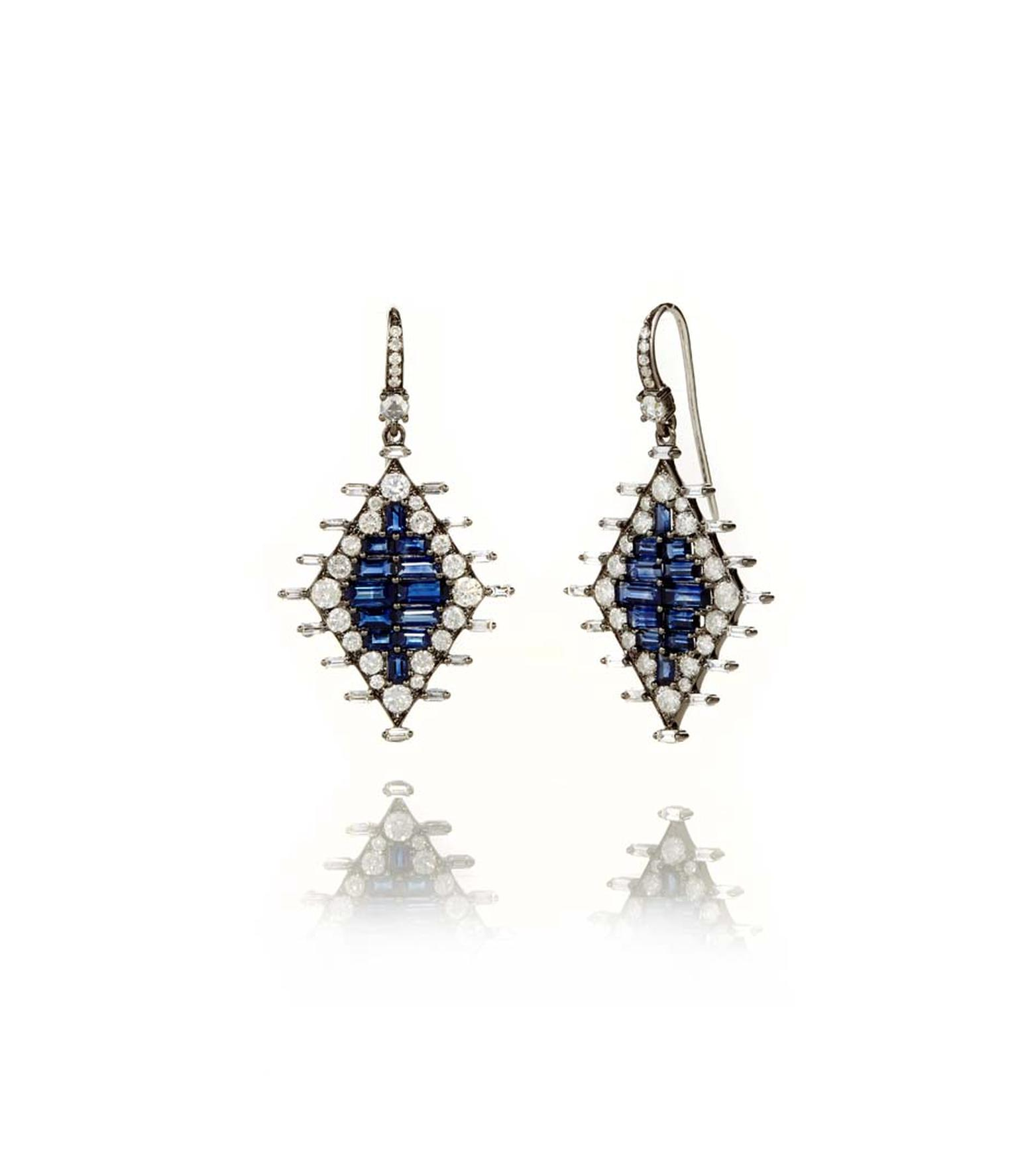 Nam Cho baguette-cut sapphire earrings surrounded by brilliant-cut diamonds (from $11,380).