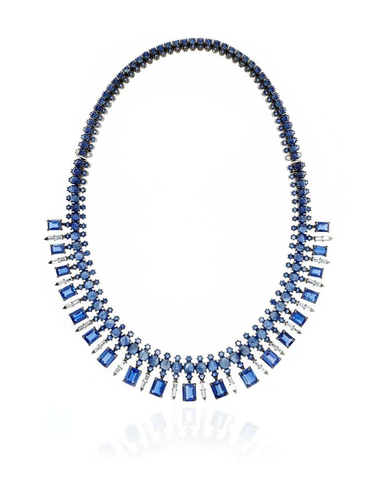 Nam Cho baguette necklace featuring emerald-cut kyanites, blue sapphires, blue sapphire cabochons and white sapphire baguettes set in white gold (from $65,000).