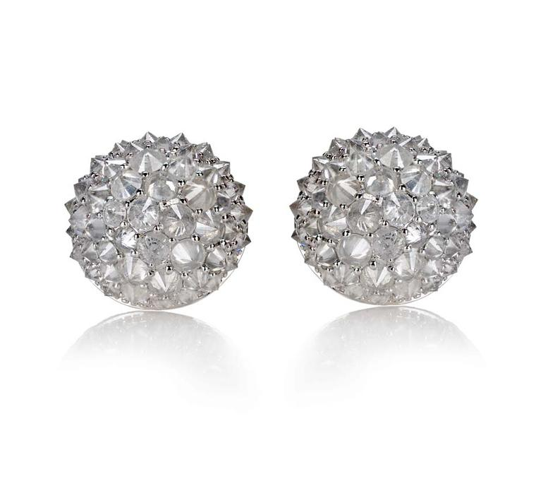 Nam Cho rose-cut pavé diamond earrings that mimic the texture of nubby bouclé fabric. Nam encourages people to touch her work so that they can appreciate the texture and feel (from $12,990).