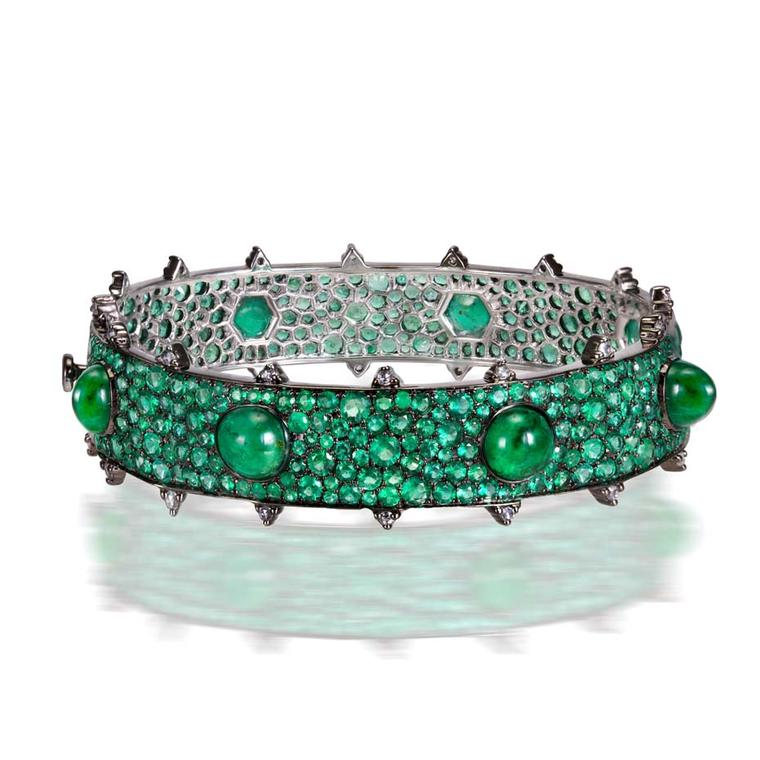 Nam Cho emerald bracelet featuring diamond-cut and cabochon Zambian emeralds and rose-cut diamonds (from $55,000).