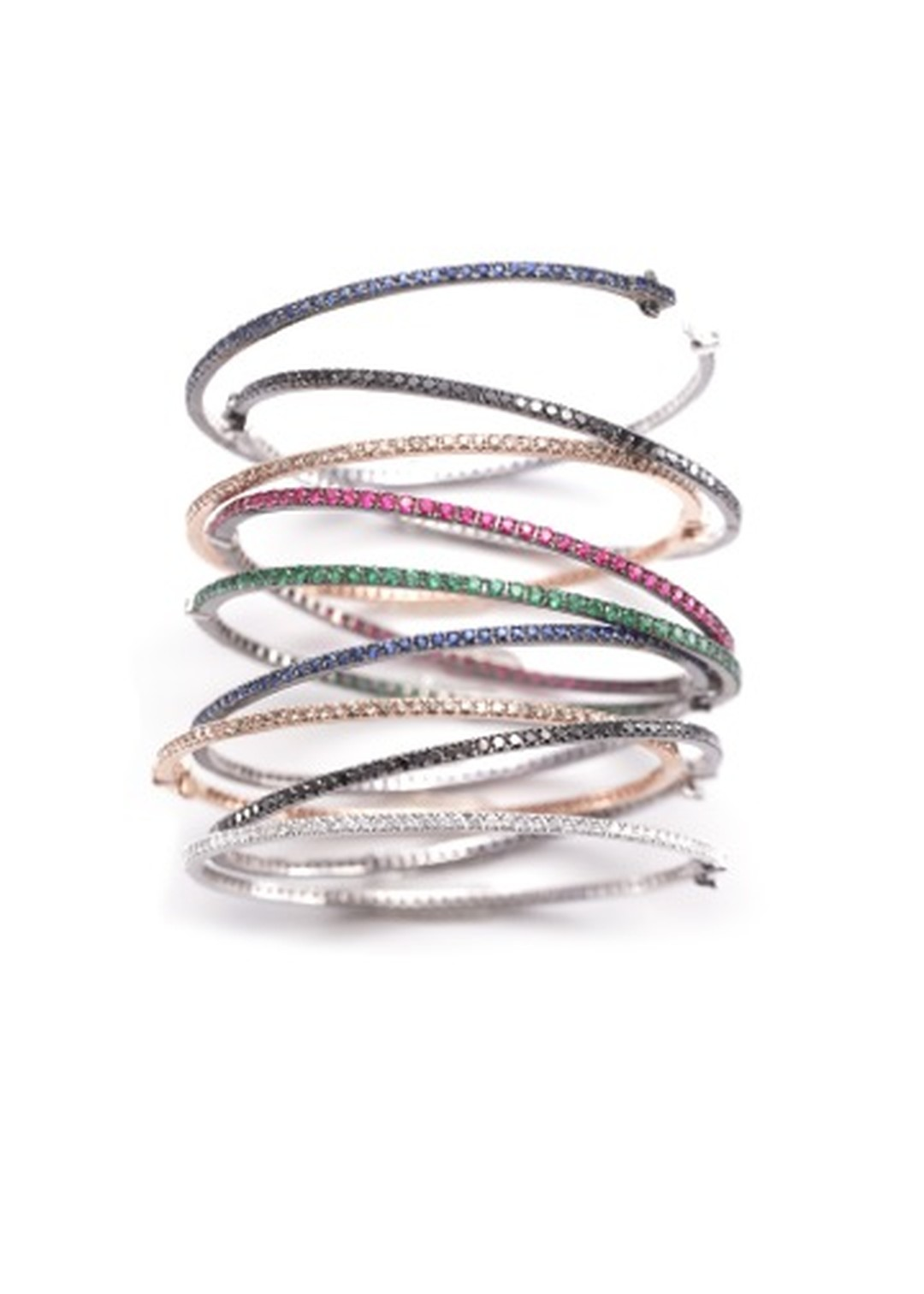 Nam Cho 1.00ct bangles featuring black, champagne and white diamonds as well as colored sapphires, rubies and emeralds, available in white or pink gold (from $4,570).