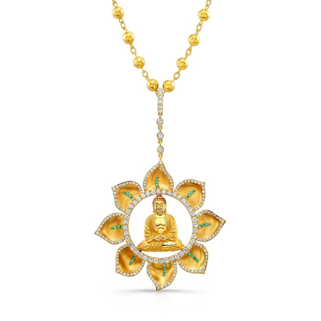 Buddha Mama emerald and diamond pendant set in gold ($28,000).