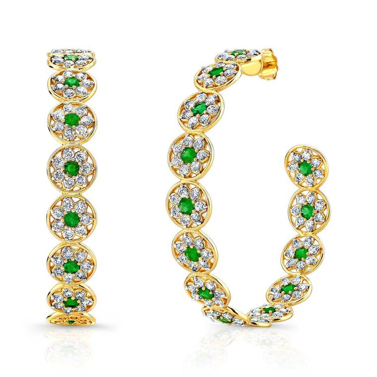 Buddha Mama Large Flower Peace earrings with diamonds and emeralds ($19,260).