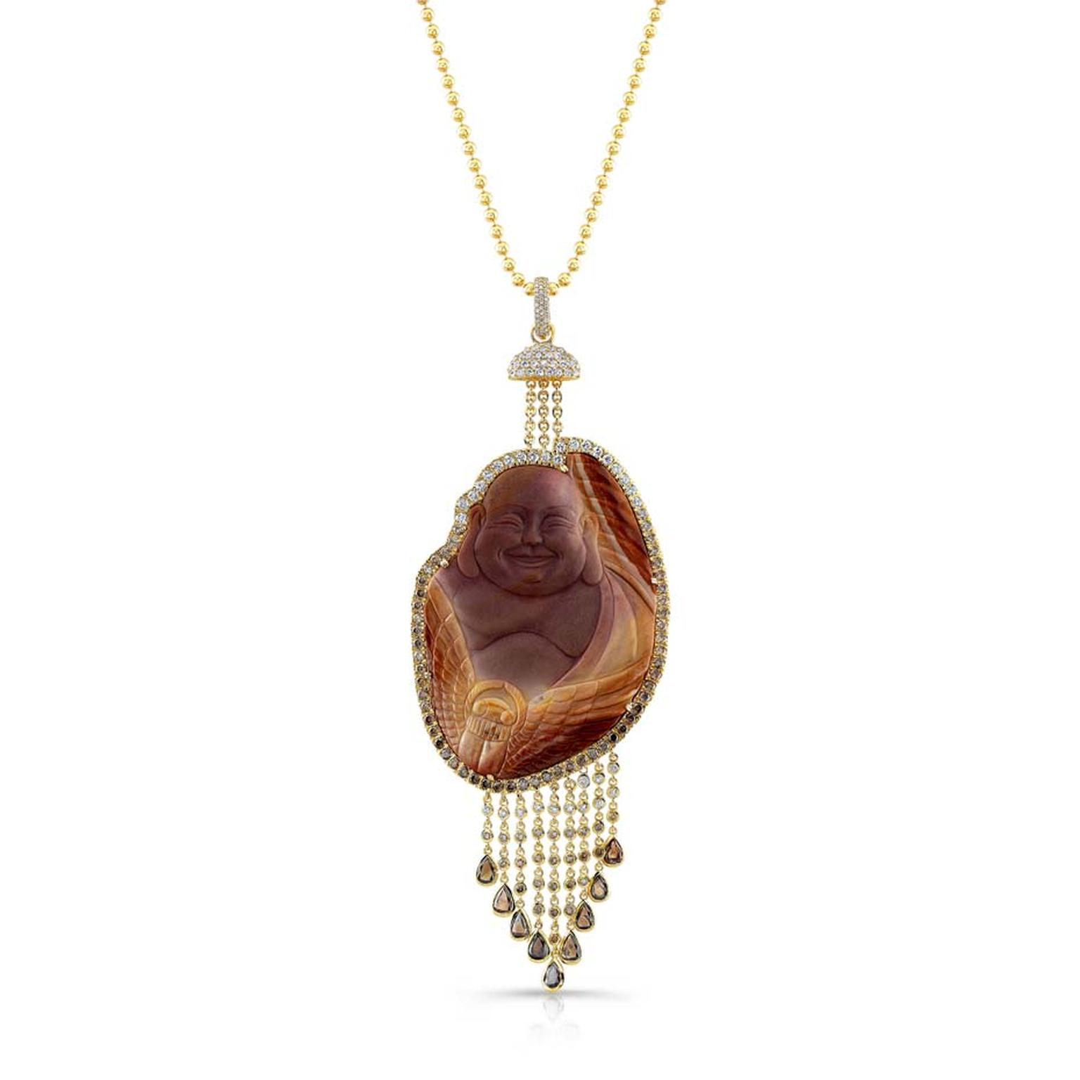 Buddha Mama one-of-a-kind hand-carved jasper Buddha necklace set with brown and white diamonds ($29,400).