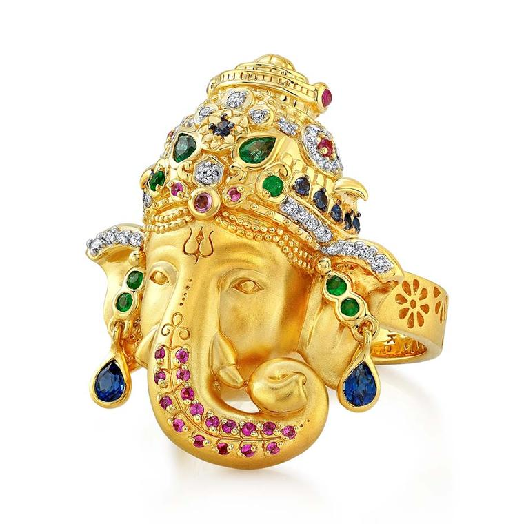 Buddha Mama Ganesha ring with diamonds, emeralds and blue and pink sapphires ($5,800).