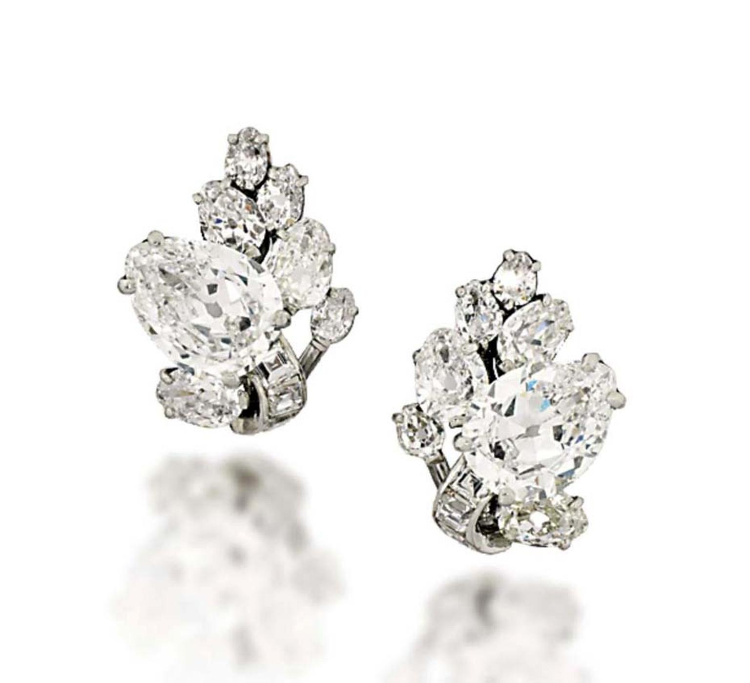 A pair of cluster diamond earrings from Christie's Important Jewels sale, taking place on 26 November 2014.