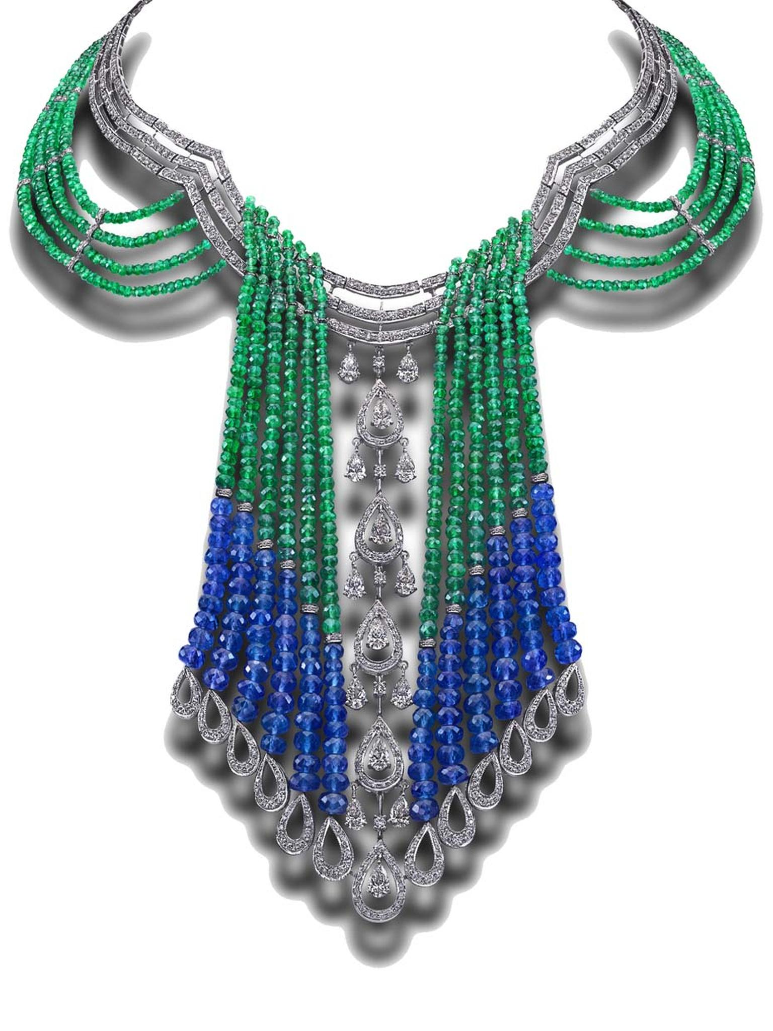 House of Rose emerald and tanzanite necklace with pear-shaped diamonds.