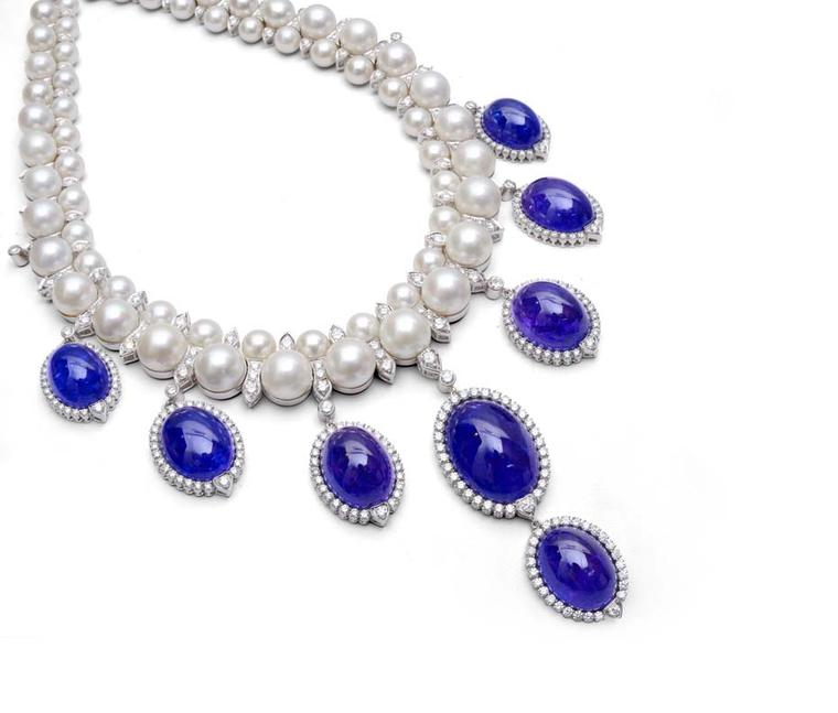 Farah Khan classic pearl and diamond necklace with cabochon tanzanite pendants.