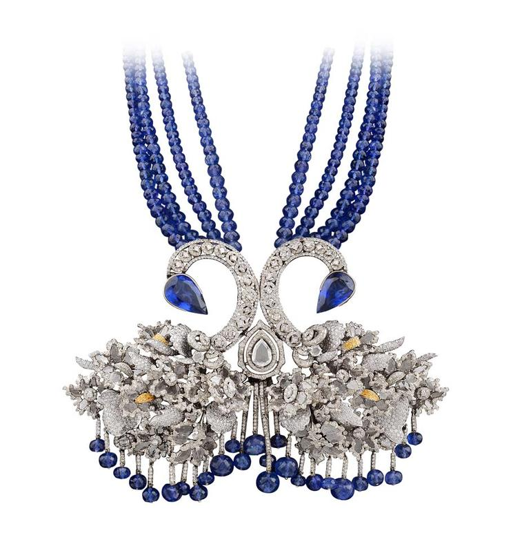 Bina Goenka Swan necklace with diamond slices and pear-shaped tanzanites and beads.