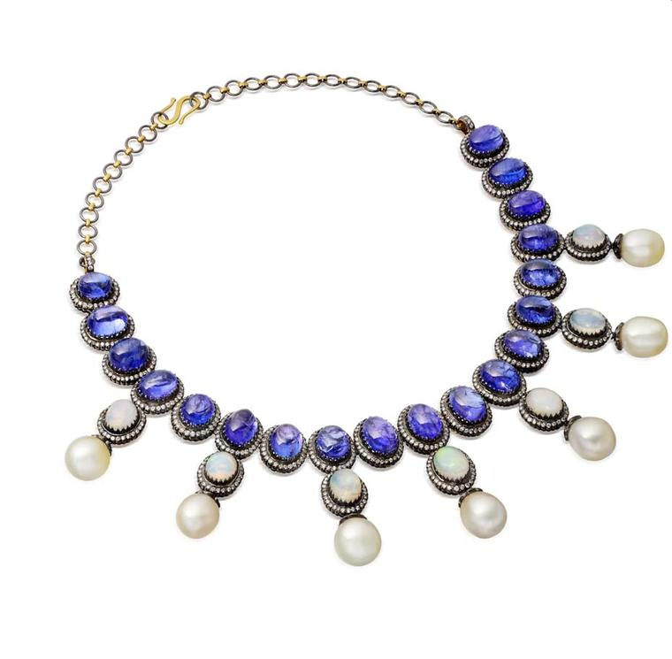 Amrapali cabochon tanzanite necklace with pearls and opals set in antique-finished gold.