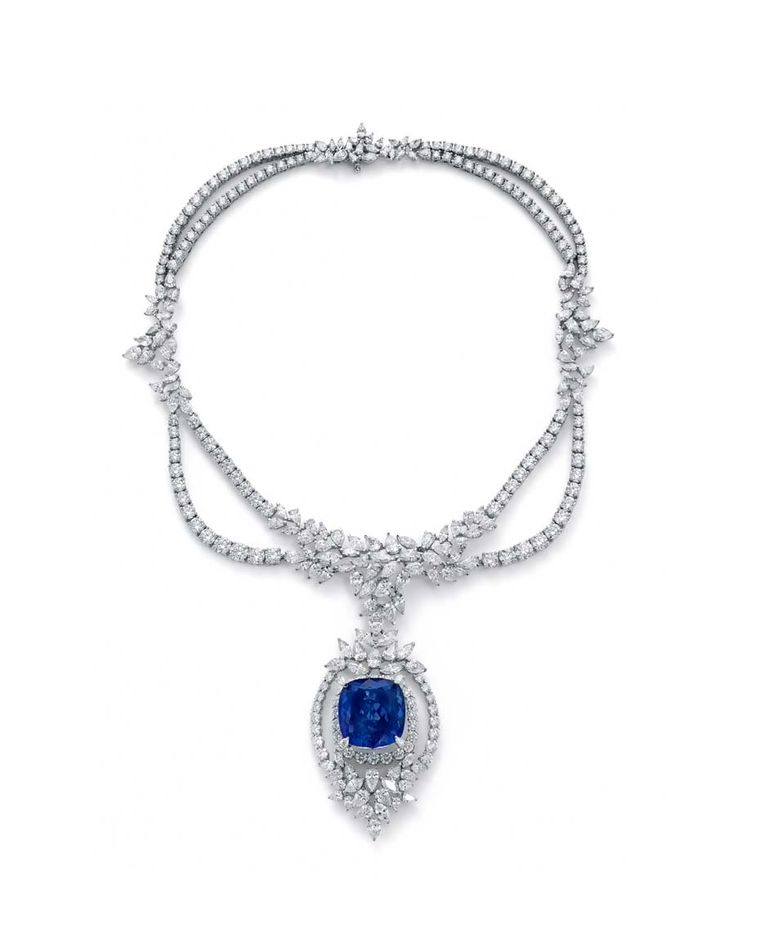 Ganjam Violet necklace with a 47.11ct tanzanite centre surrounded by 64.00ct of white diamonds.