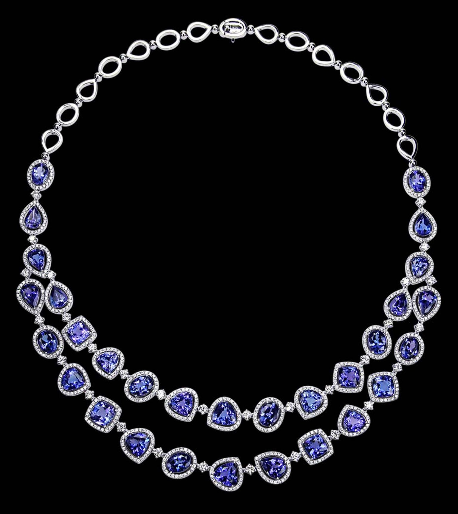 Entice necklace with fancy-shaped tanzanites surrounded by diamonds.
