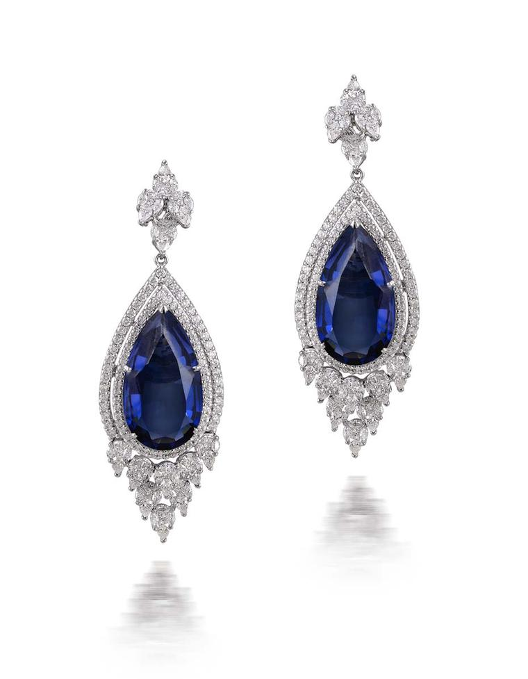 Varuna D Jani tanzanite drop earrings.