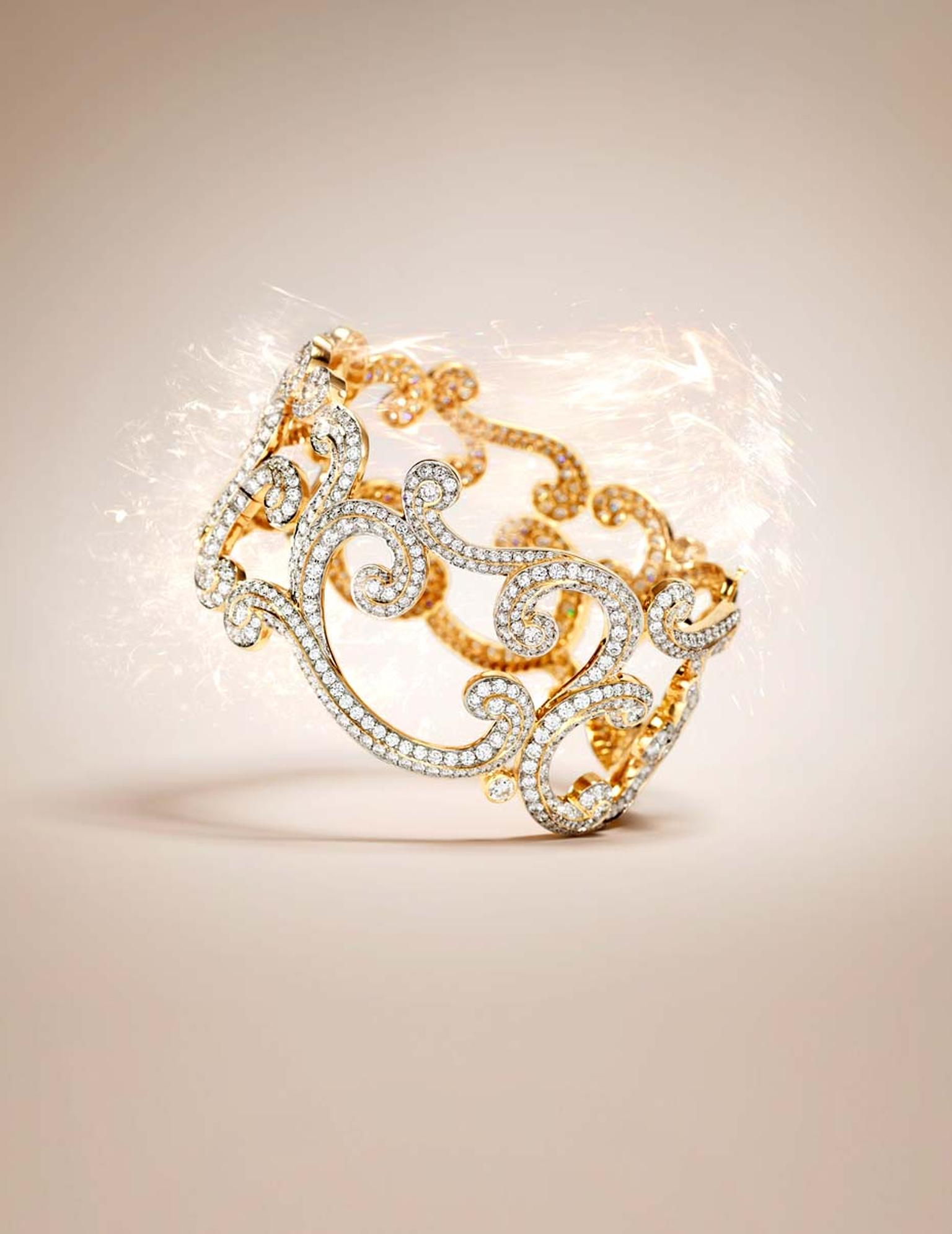 Fabergé Rococo Lace diamond bangle in rose gold.