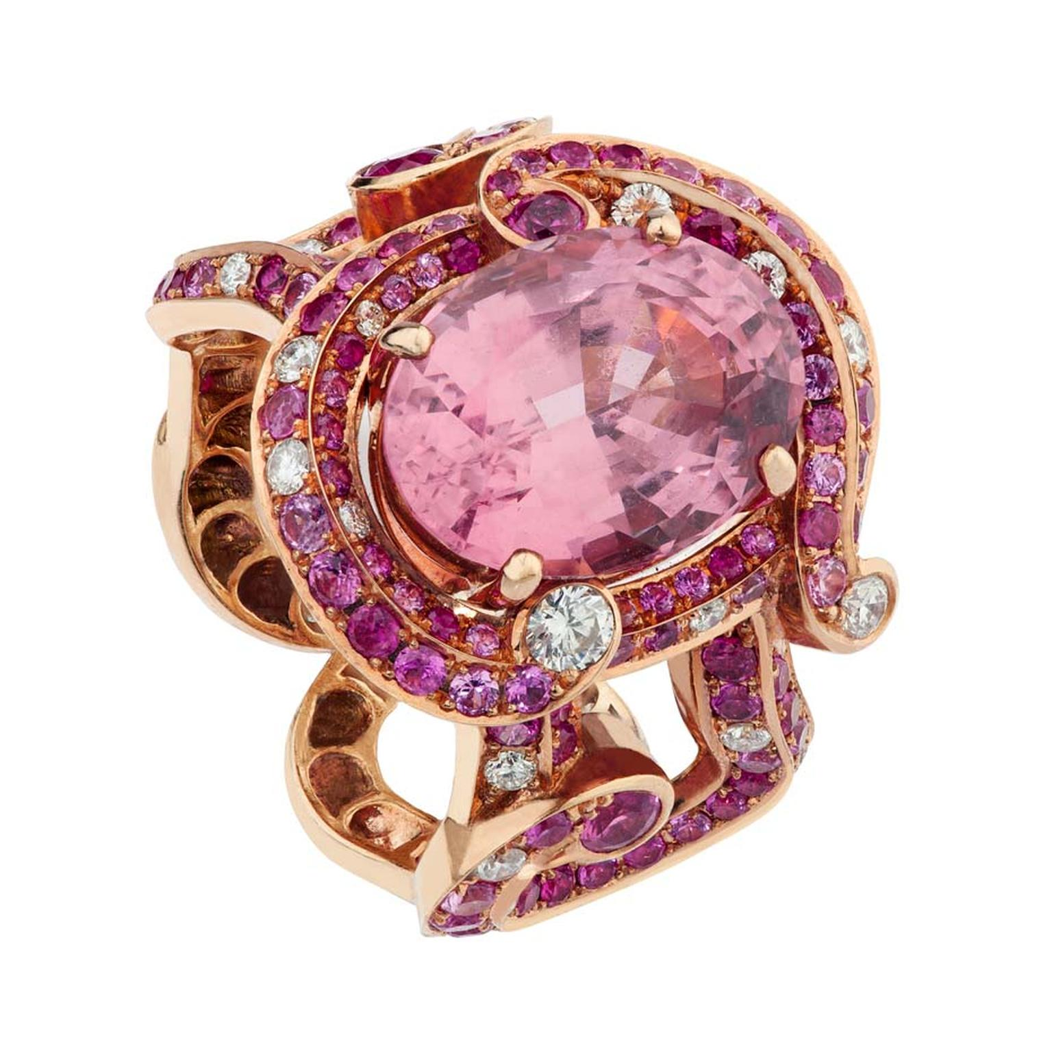 Fabergé Rococo pink spinel ring.