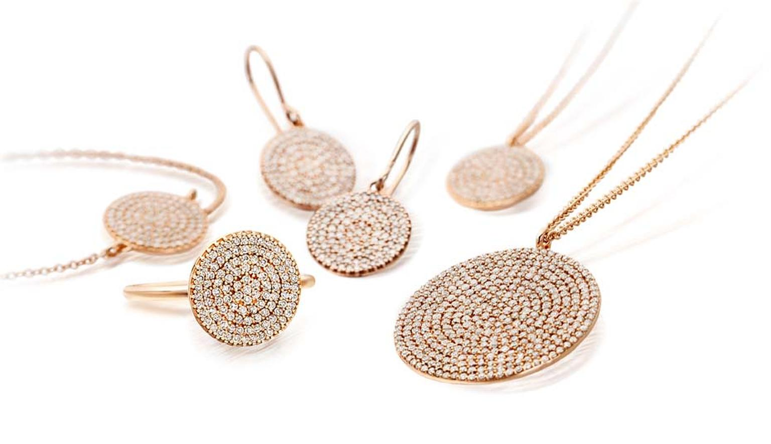 Astley Clarke Muse collection features rings, pendants, bracelets and earrings in rose gold with silver grey diamonds. The open setting at the back enables light to flow through.