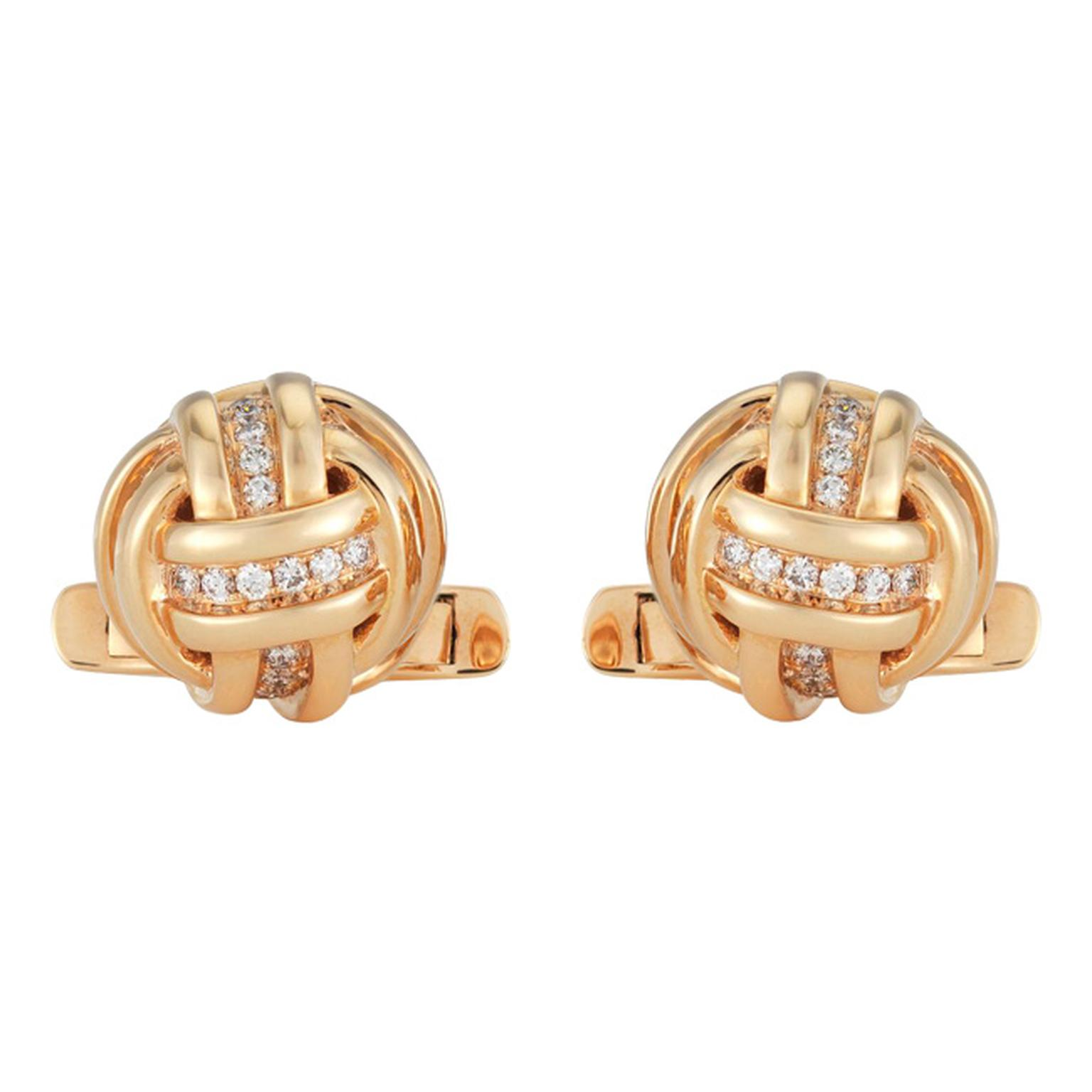 De Beers Knot diamond and rose gold cufflinks (£4,450).