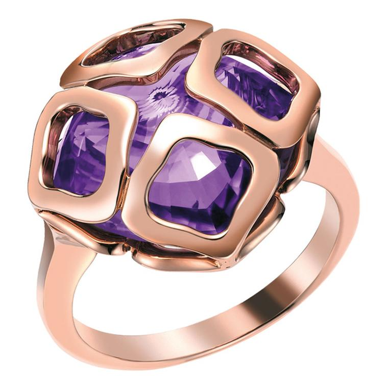 Chopard Imperiale rose gold ring set with a 7.30ct cushion-cut purple amethyst (£2,180).