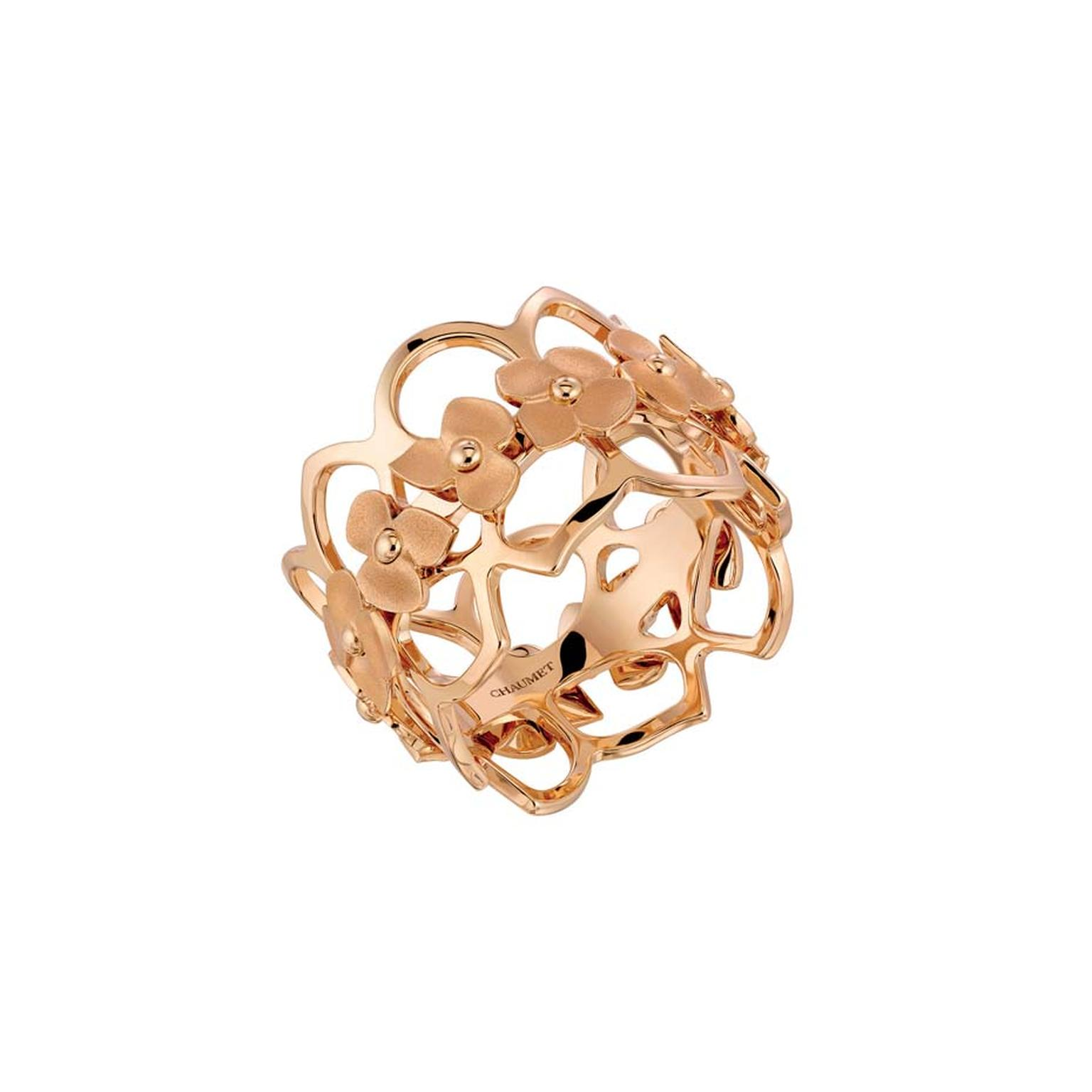 Chaumet Hortensia rose gold ring.
