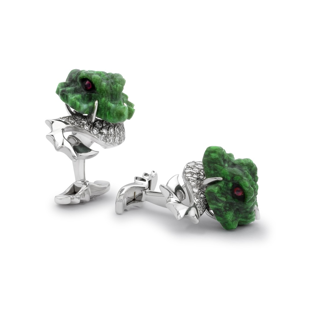 David Marshal Dragon diamond cufflinks. Crafted out of luxurious white gold and Burma jade, they are set with 0.46ct of subtly sparkling gems.
