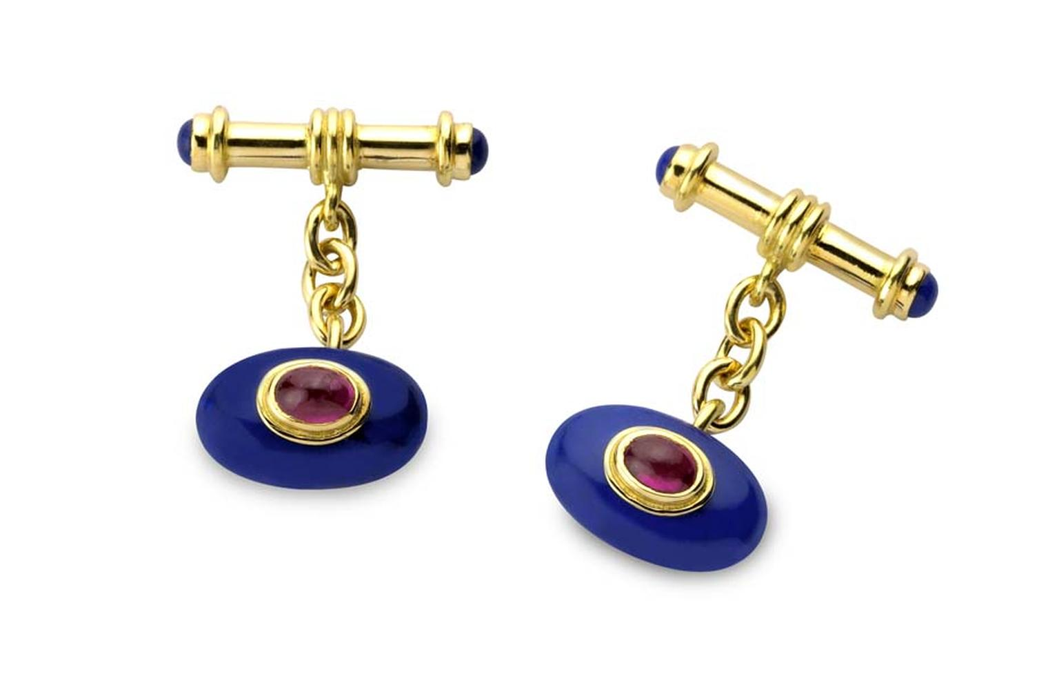 Deakin & Francis lapis lazuli and ruby cufflinks.
