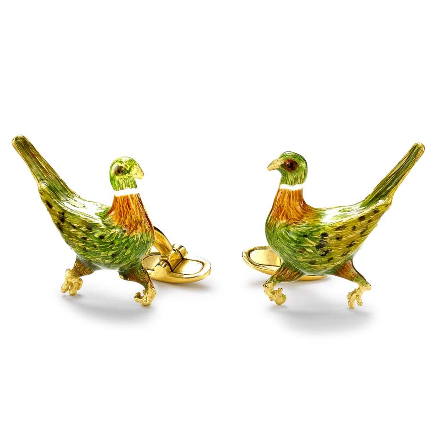 Kiki McDonough Game Bird enamel and yellow gold cufflinks (£1,900).