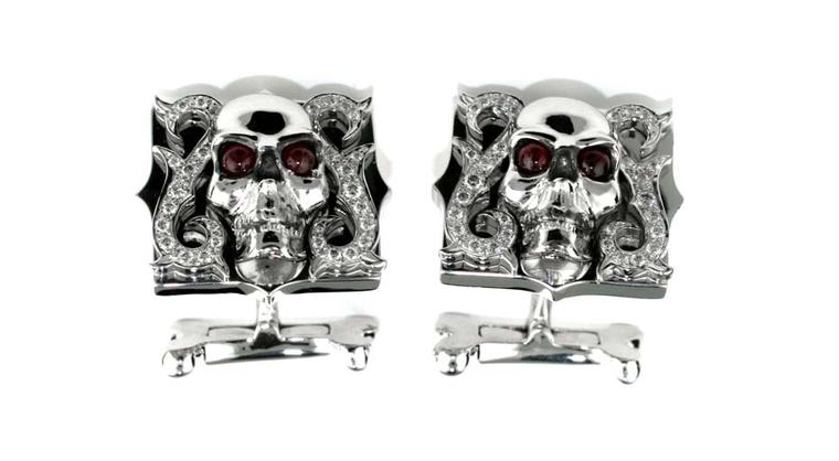 Stephen Webster Gothic skull cufflinks.