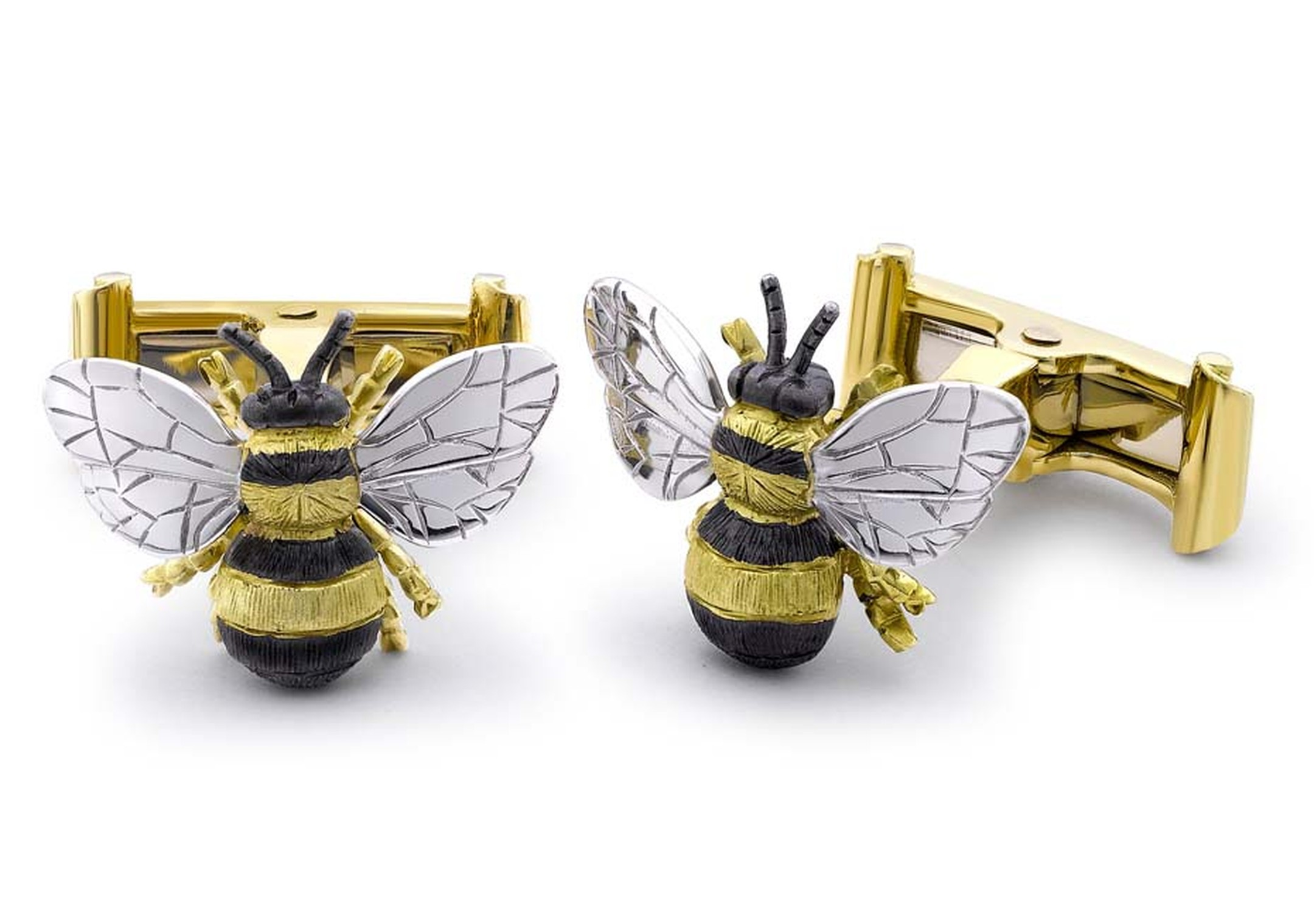 Theo Fennell Bee white and yellow gold cufflinks, finished with black rhodium (£2,750).