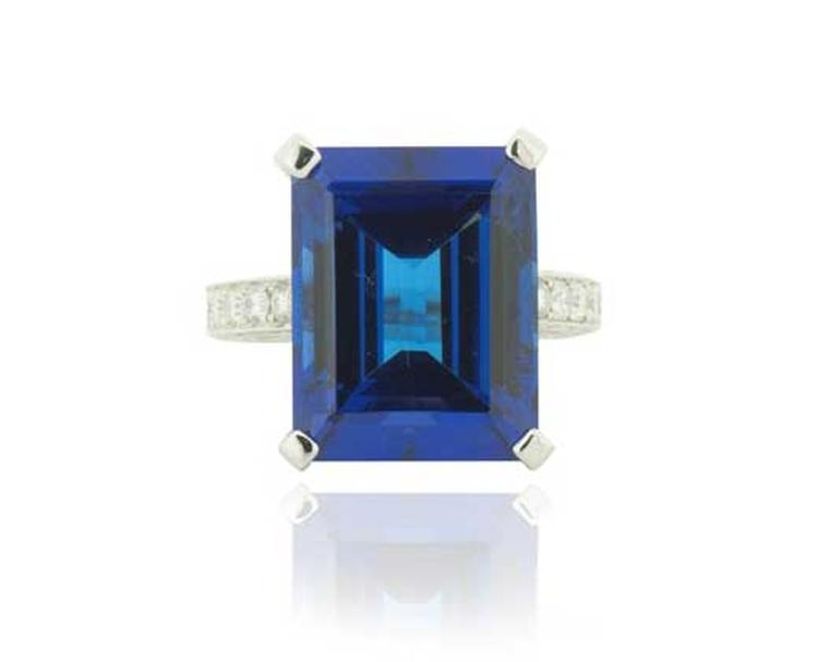 Diacolor diamond ring set with a 21.88ct step-cut tanzanite.