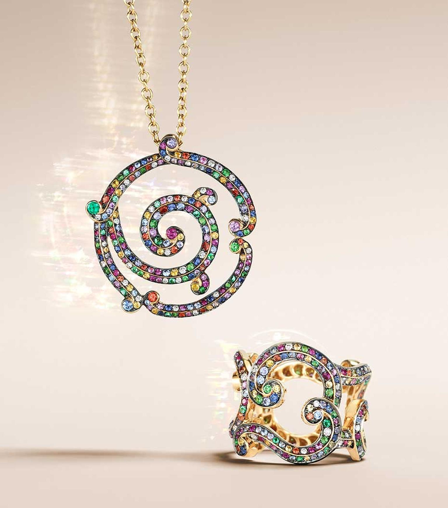 Fabergé Rococo Lace Multi-Coloured yellow gold pendant (£5,331) and ring (£6,219).