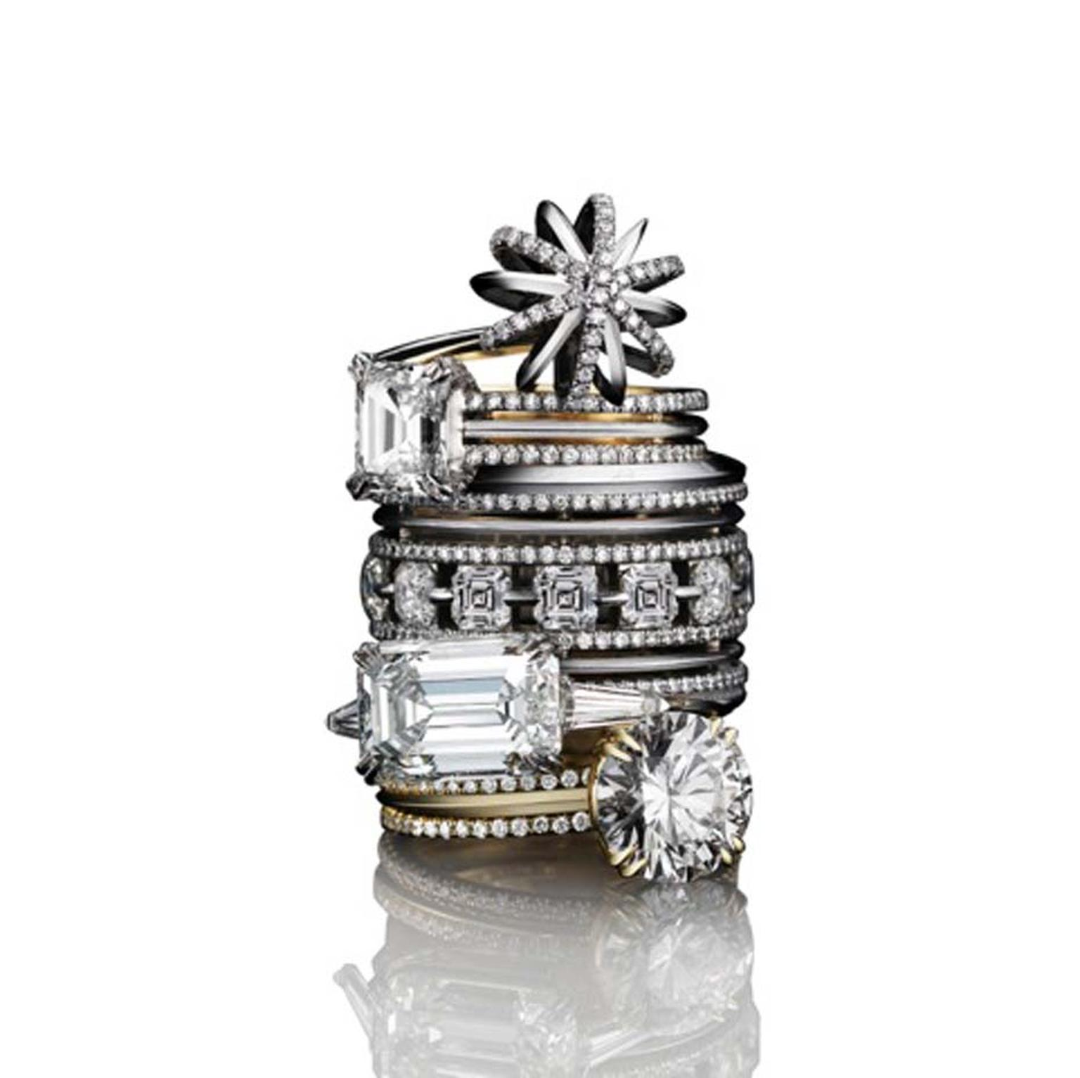Alexandra Mor Vows collection of diamond rings.
