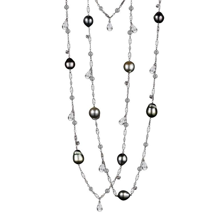 Alexandra Mor white diamond and pearl sautoir necklace with briolettes and snowflake charms.