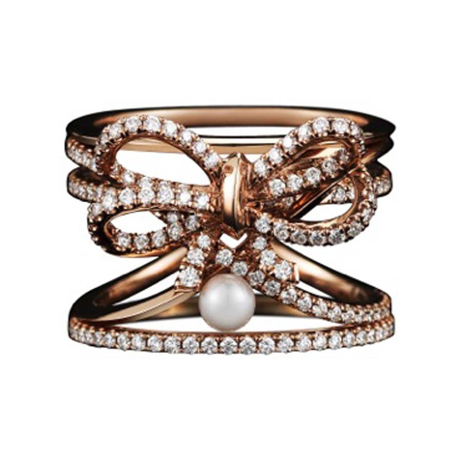 Alexandra Mor contemporary diamond bow and pearl ring in rose gold.