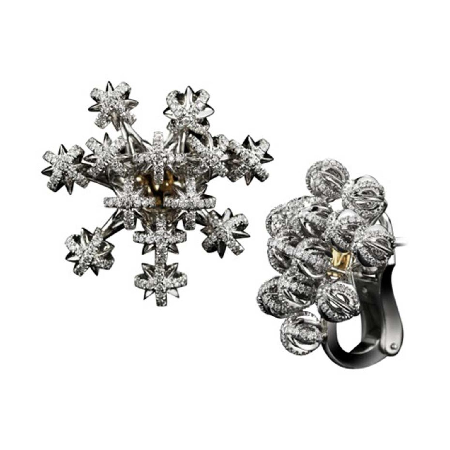 Alexandra Mor Dome Snowflake charms earrings featuring diamonds set in white and black gold.