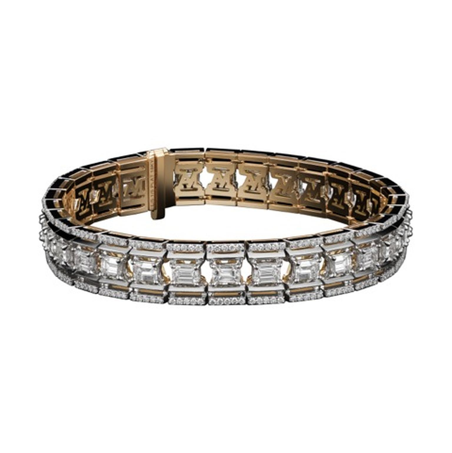 Alexandra Mor_Emerald Cut Platform Diamond Bracelet HighRez White BG Full view (AMBRC6005-01_E).jpg