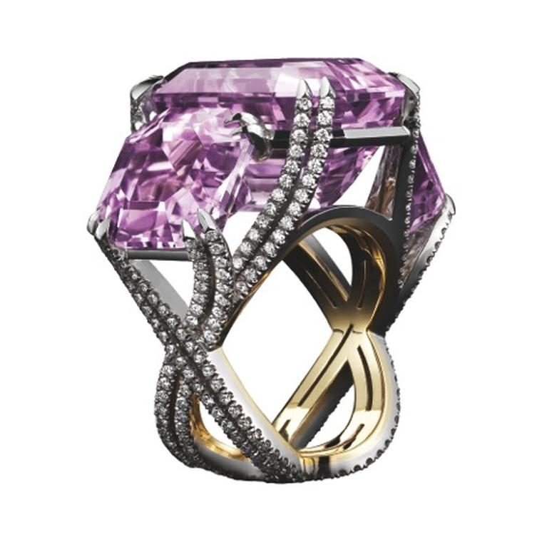 Alexandra Mor three-stone kunzite and diamond ring.
