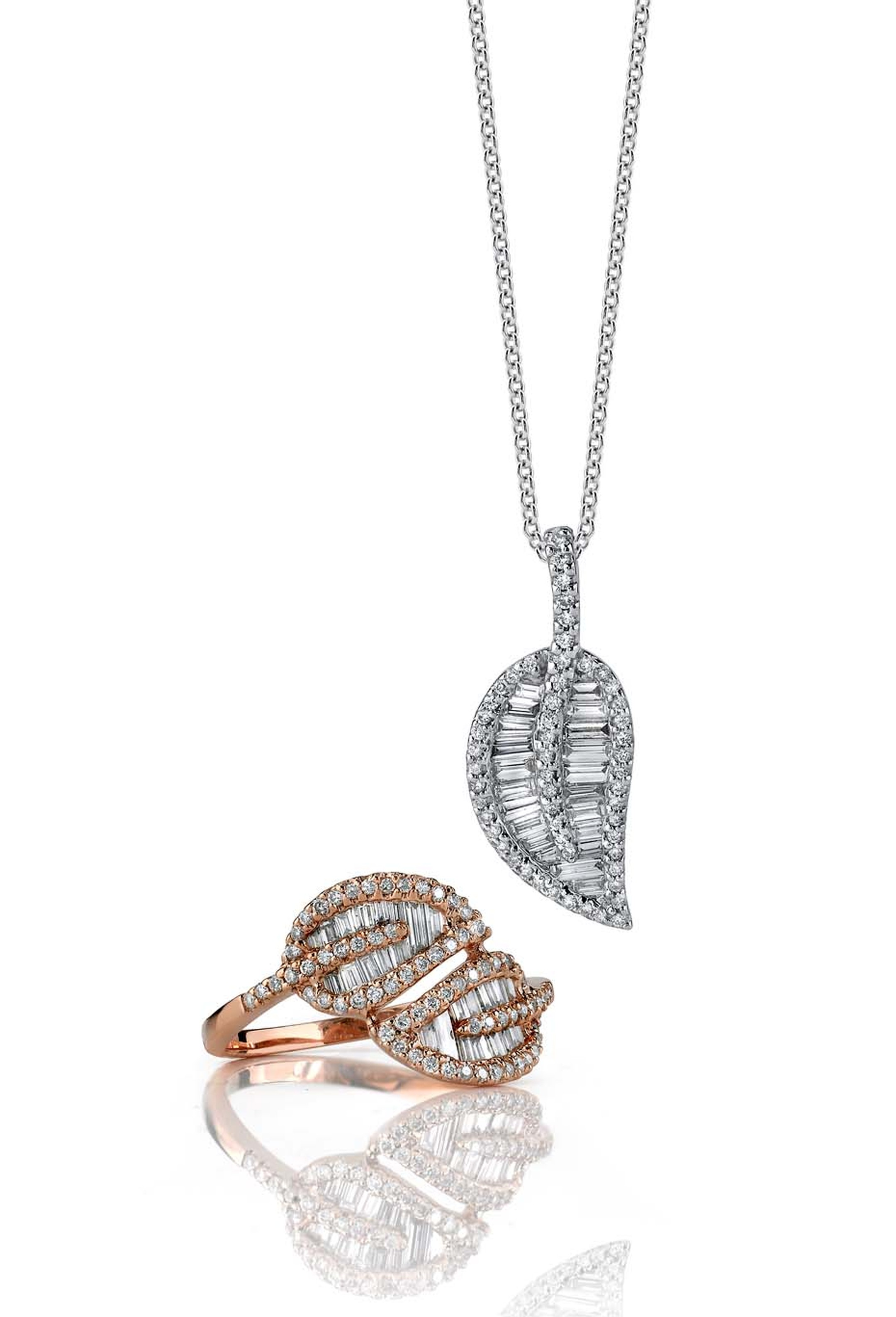 Anita Ko Double Leaf gold and diamond ring and necklace ($4,700 and $3,990).