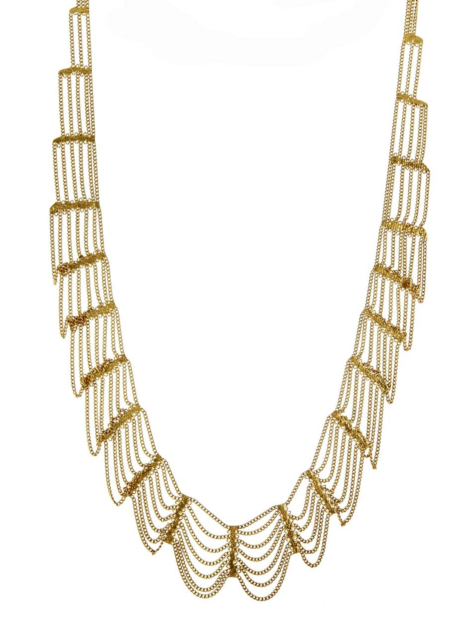 Hannah Keefe Willow necklace in gold plated brass ($480).
