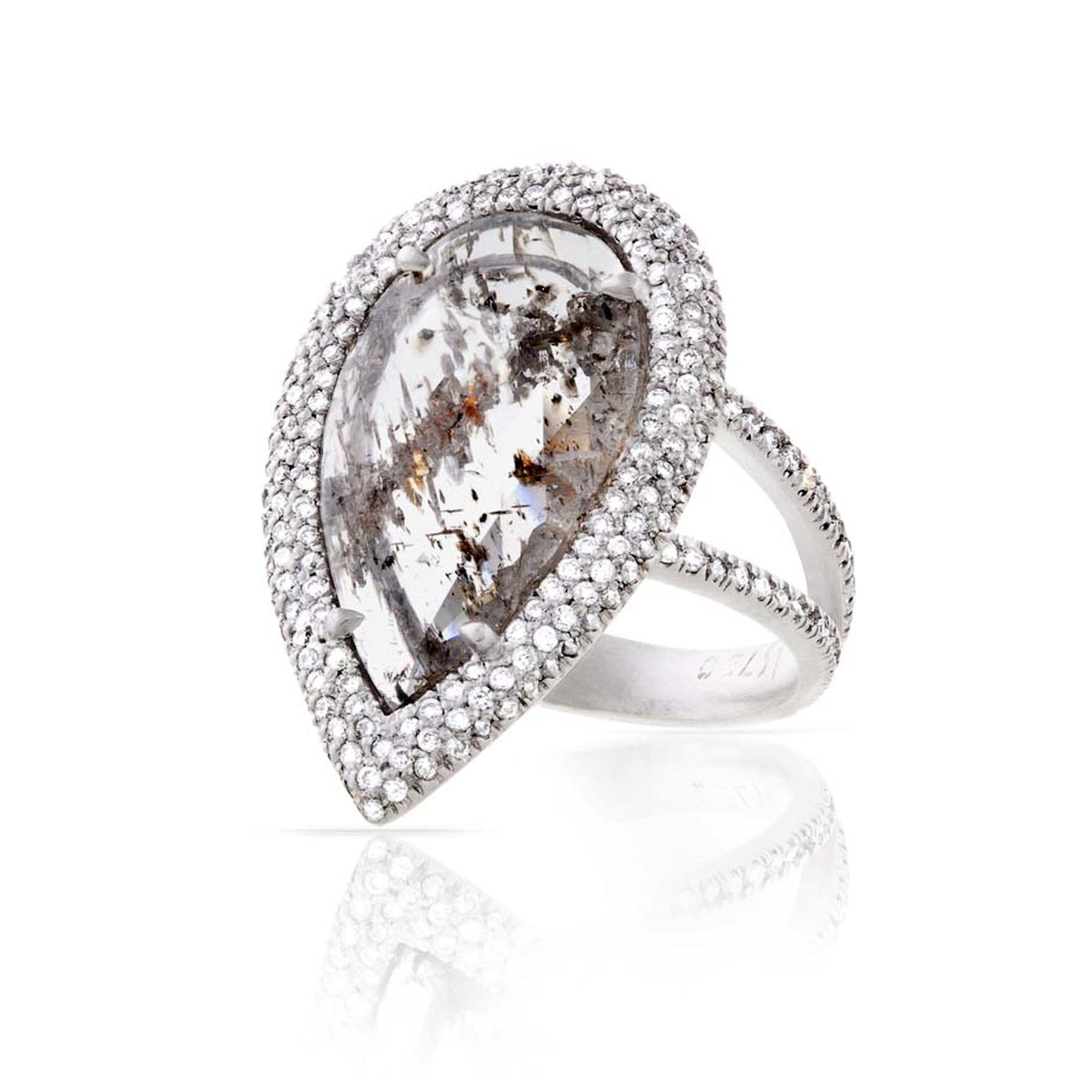 Loriann Stevenson diamond slice ring with a clear rustic diamond and white pavé diamonds set in white gold ($40,052).