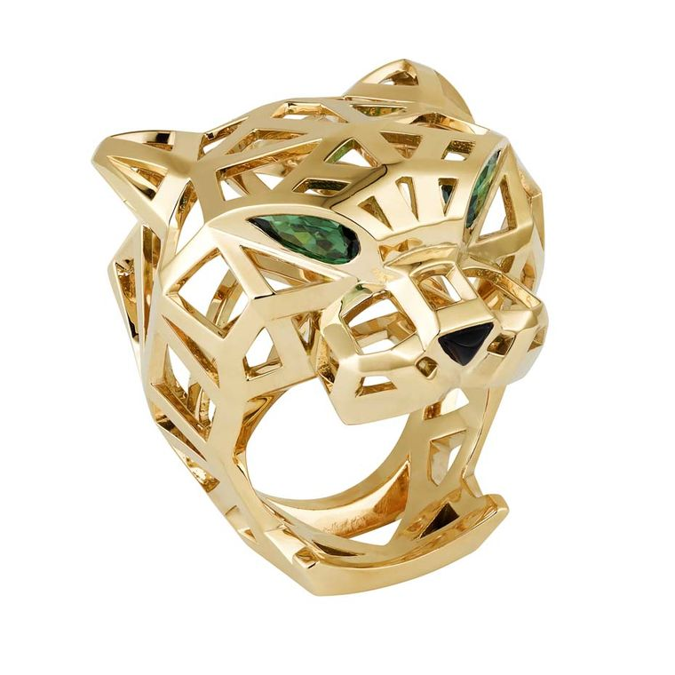 Panthère de Cartier ring in yellow gold with tsavorite garnets and onyx (£14,200).