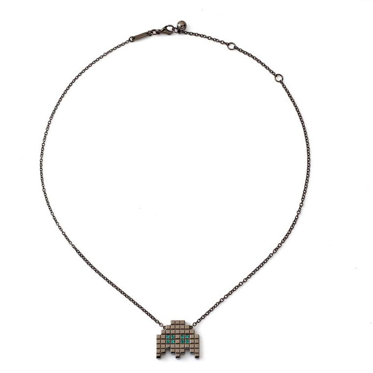 "Francesa Grima ""Invader II"" necklace with emeralds in blackened gold (£1,965)."