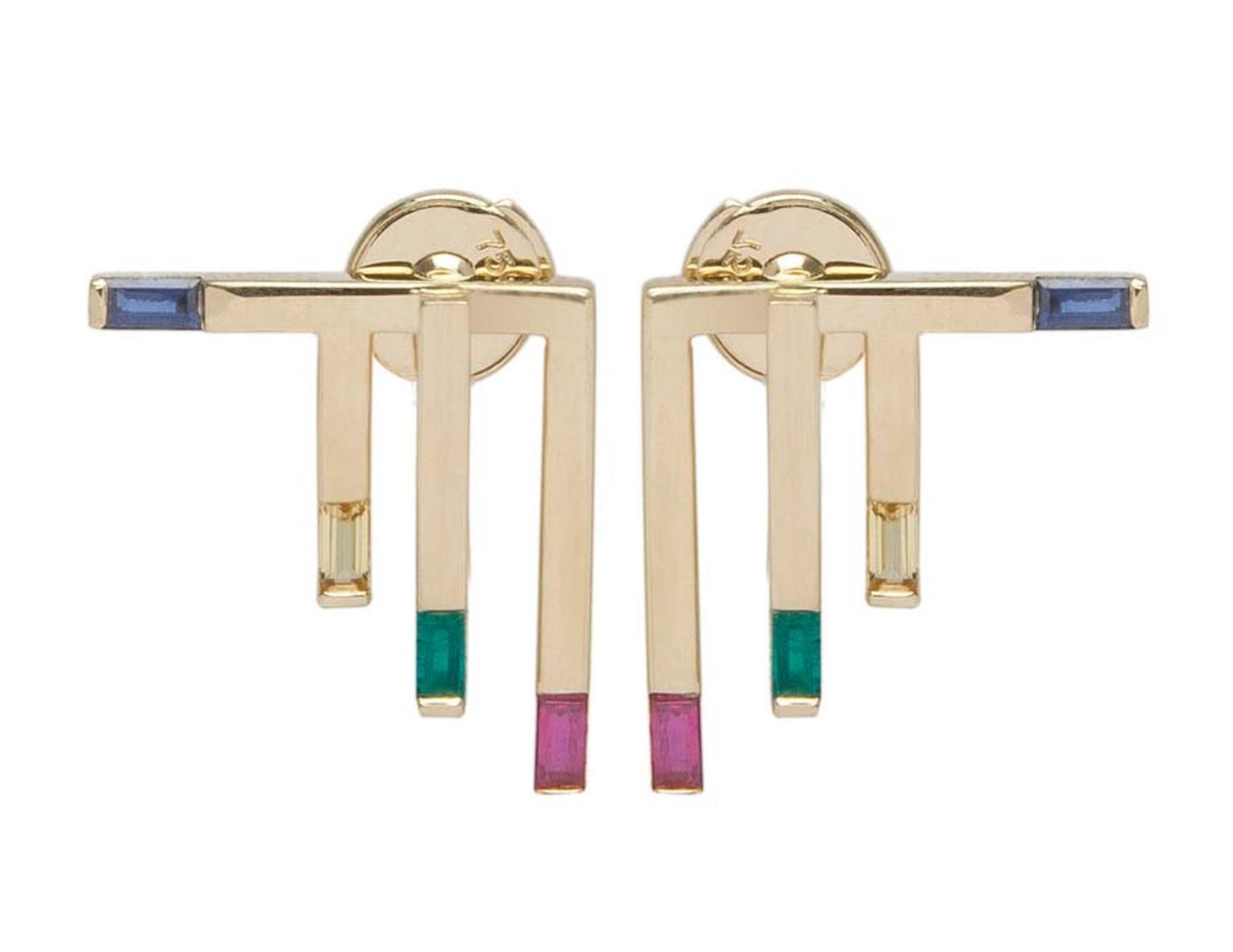 Ruifier Solstice Stud earrings in yellow gold with emeralds and blue and yellow sapphires (£1,375).