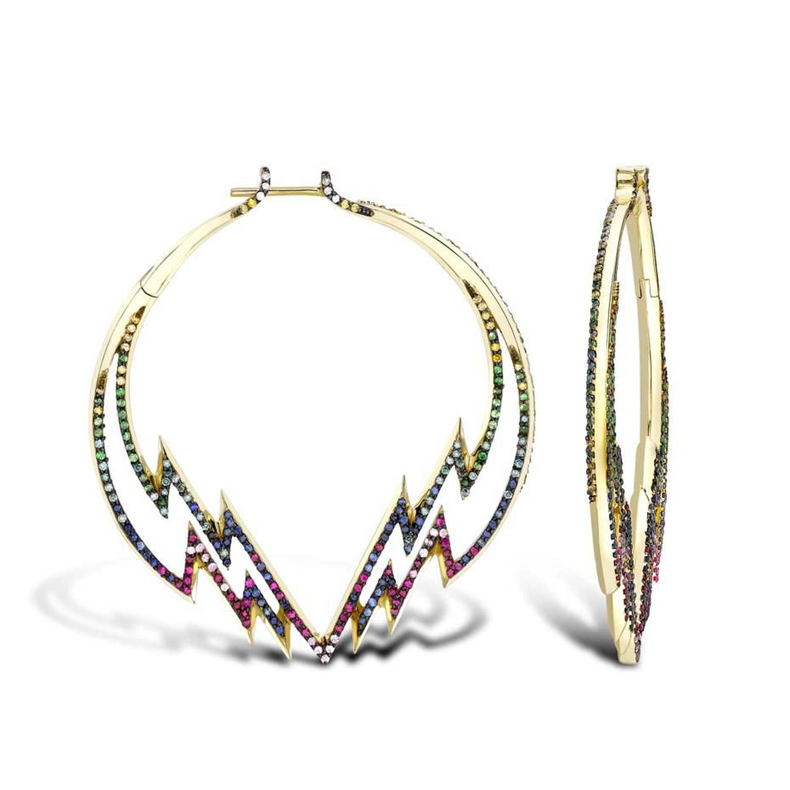 Venyx Electra Hoop earrings in yellow gold featuring white, yellow and blue diamonds, pink sapphires, rubies and tsavorite garnets ($21,165).