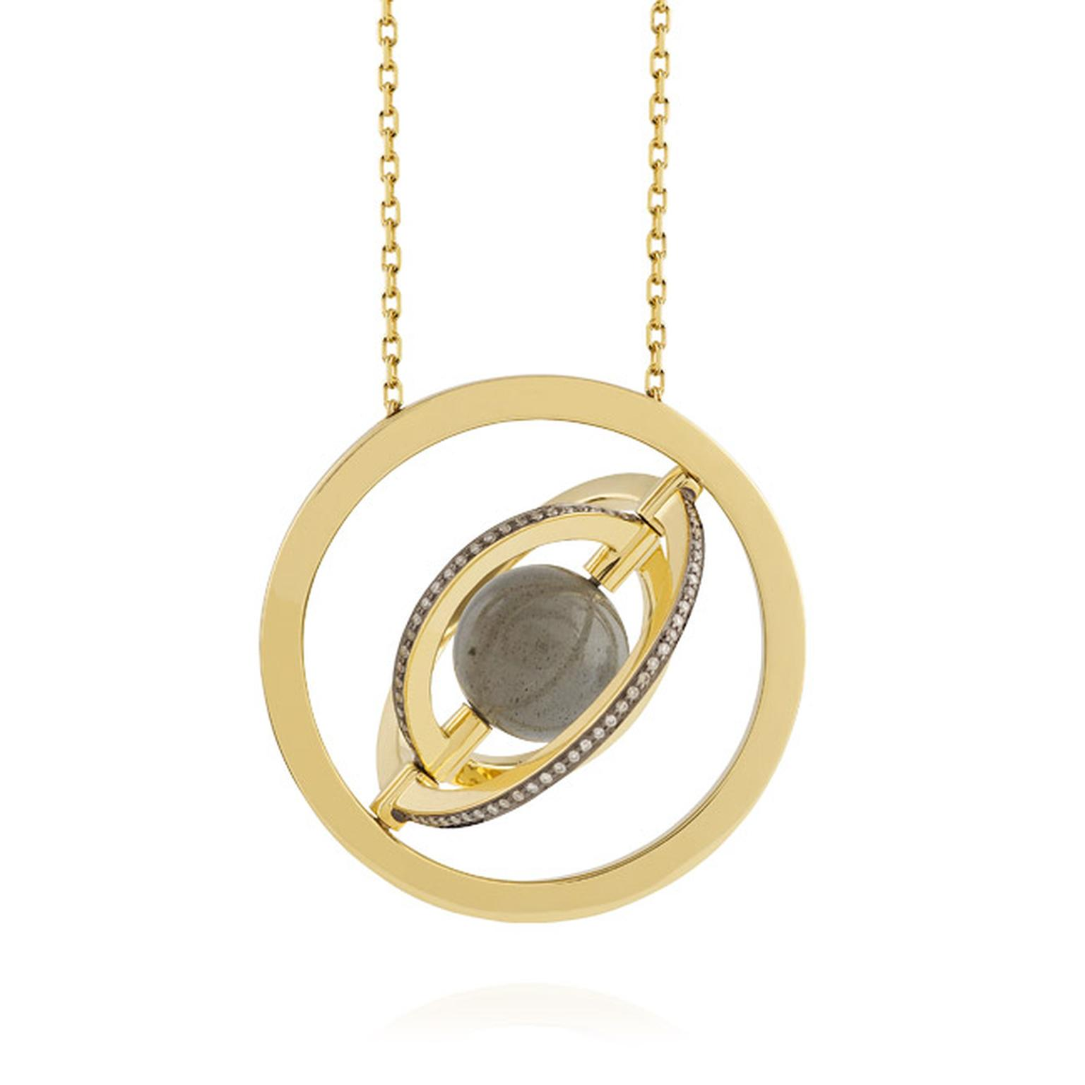 Noor Fares Urania pendant with a centre 7.17ct labradorite sphere surrounded by a rotating setting of three rings of yellow gold and diamonds