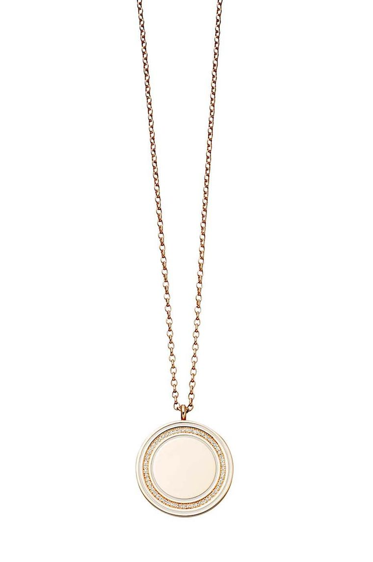 Astley Clarke Moonlight Cosmos locket in rose gold with diamond pavé.