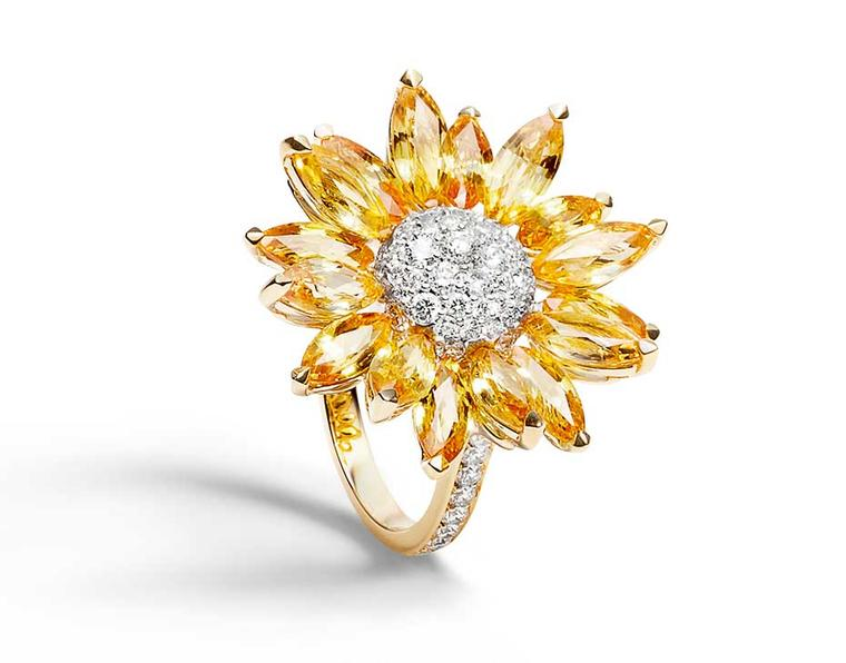 Asprey Daisy Heritage cocktail ring in yellow gold with marquise-cut yellow sapphires and a pavé diamond centre (£7,500).